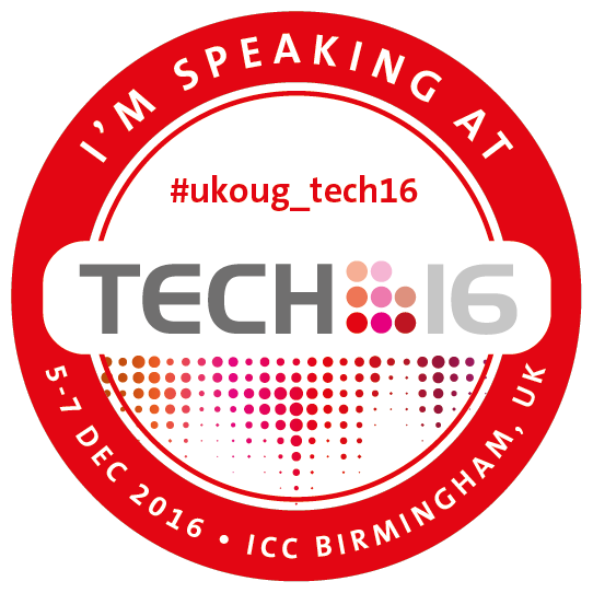 I'm speaking at #UKOUG_Tech16